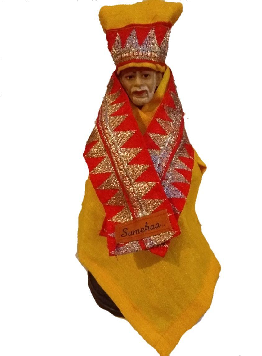 Silk & Zari work Sai Baba dress - Large size (Suitable for idol height  9
