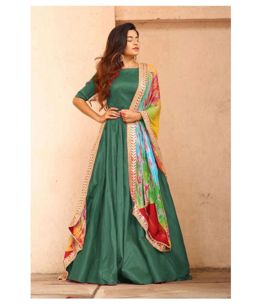 c9a5db90d8 RK Online Shopping Green and Beige Taffeta Anarkali Gown Semi-Stitched Suit  - Buy RK Online Shopping Green and Beige Taffeta Anarkali Gown  Semi-Stitched ...