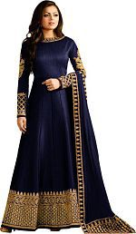 Globalia Creation Blue Cotton Silk Anarkali Semi-Stitched Suit