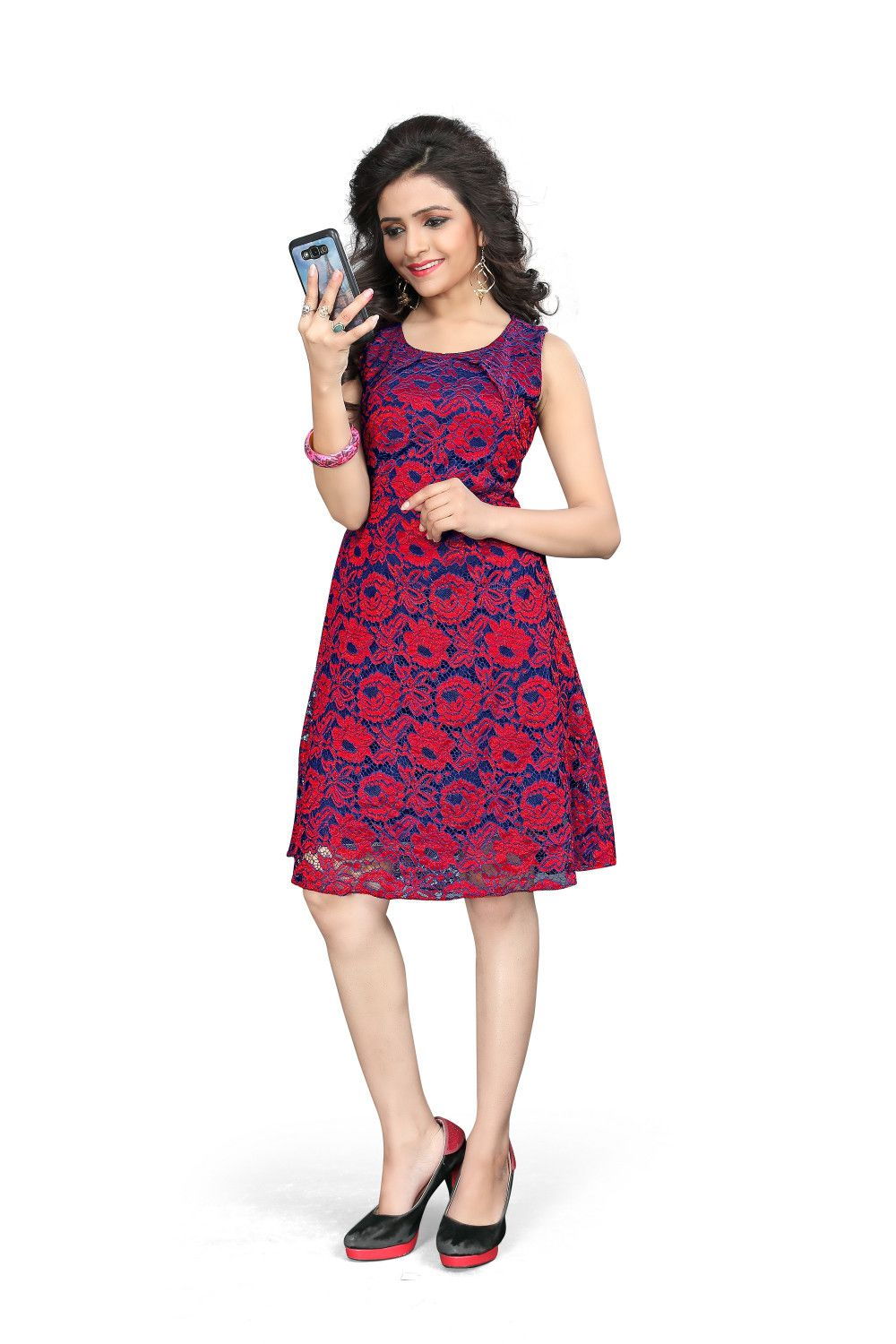 82cf0c8d66e Om Fashion New Arrival Red jacquard Westrn Wear Dresses - Buy Om Fashion  New Arrival Red jacquard Westrn Wear Dresses Online at Low Price - Snapdeal
