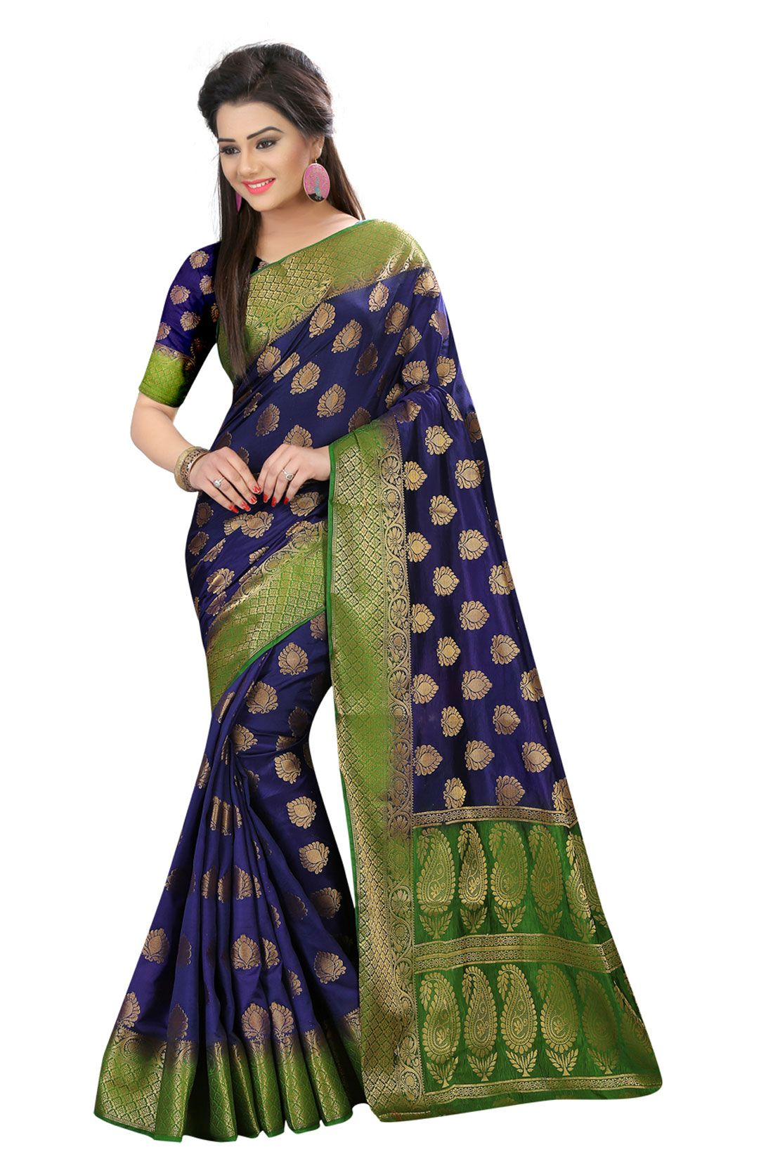 PMS Blue Silk Saree