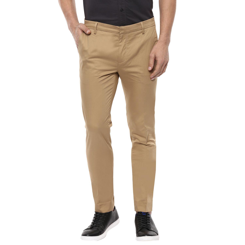 Mufti Khaki Regular -Fit Flat Trousers