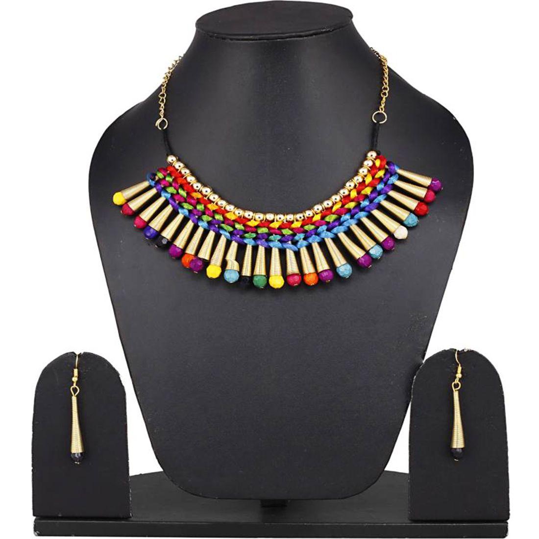 Bandish Multicoloured Bullet Design Fabric Jewellery Set
