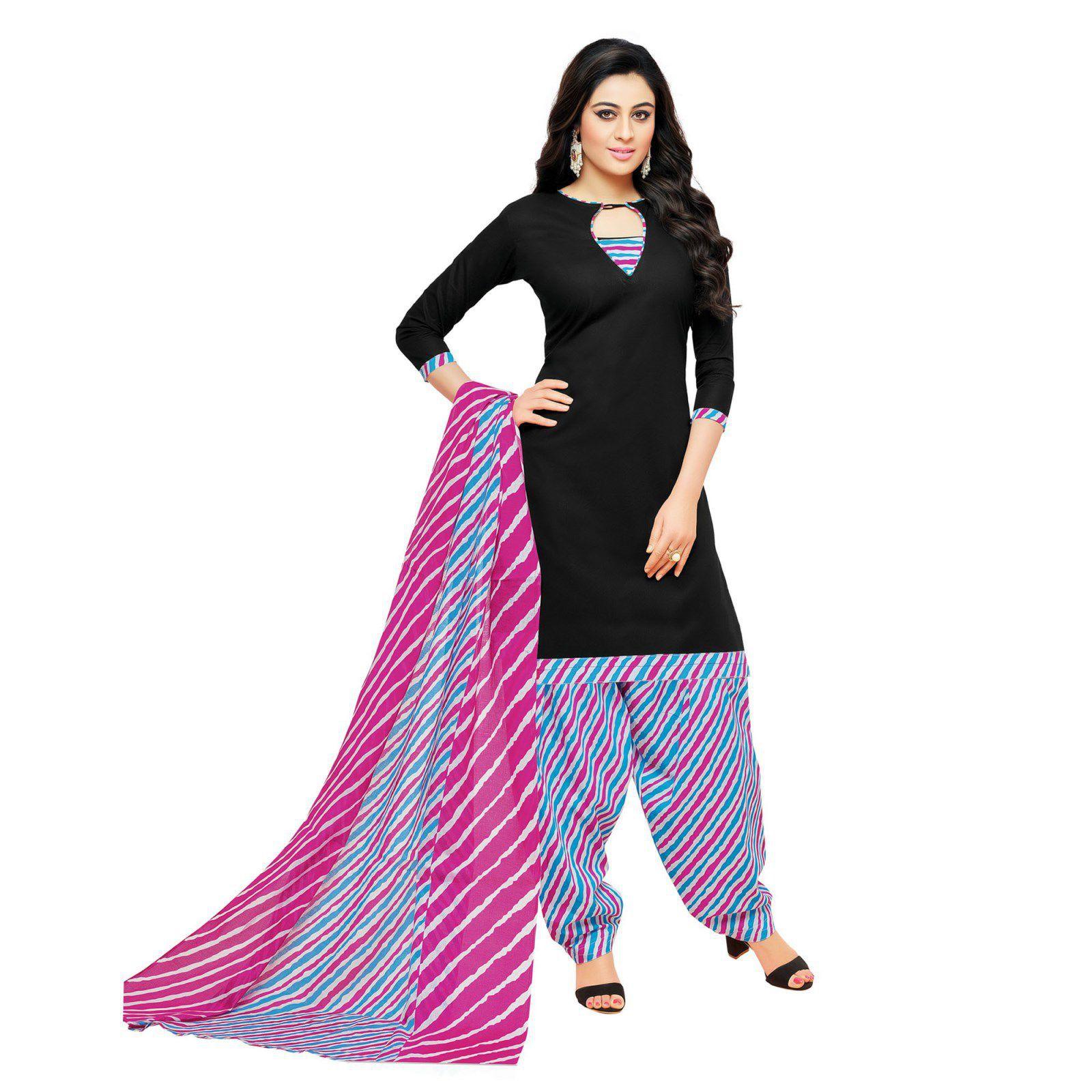 Salwar House Black Cotton Dress Material