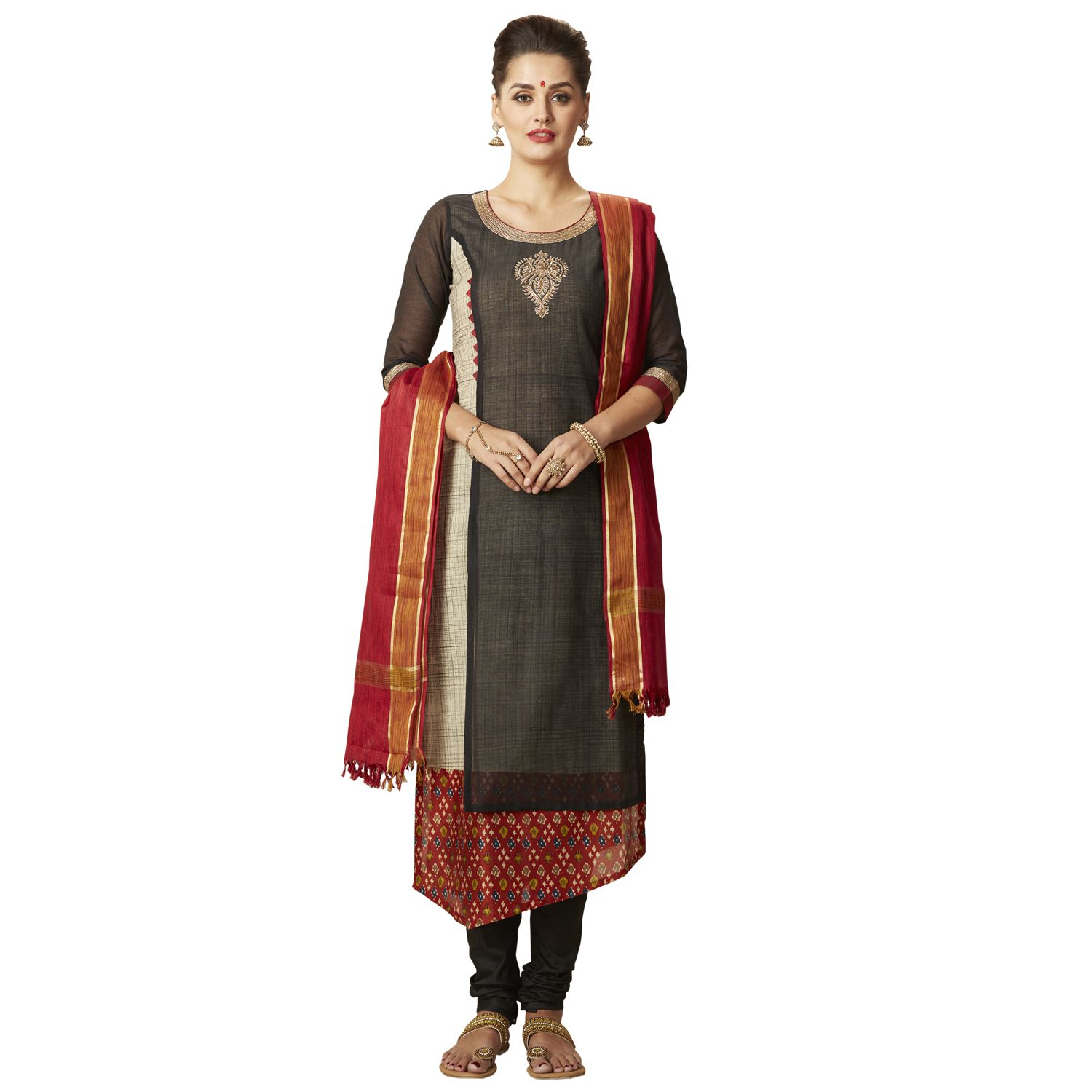 Payal Black Chanderi Asymmetrical Hemline Stitched Suit