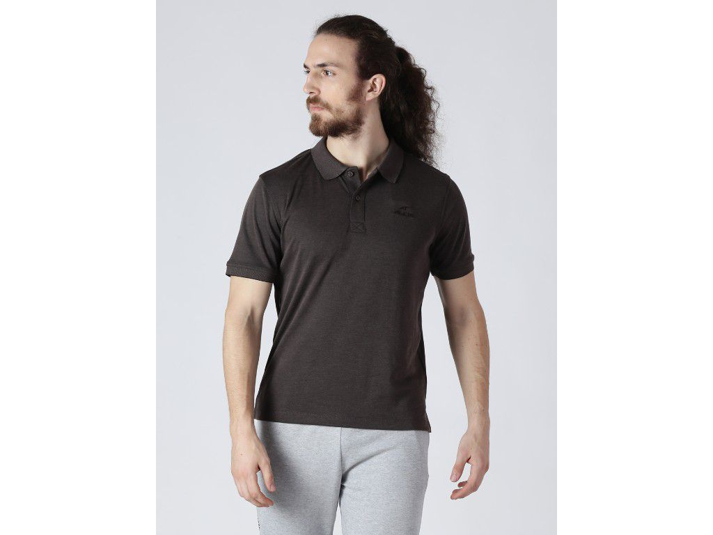 Alcis Mens Solid Brown Polo T-Shirt