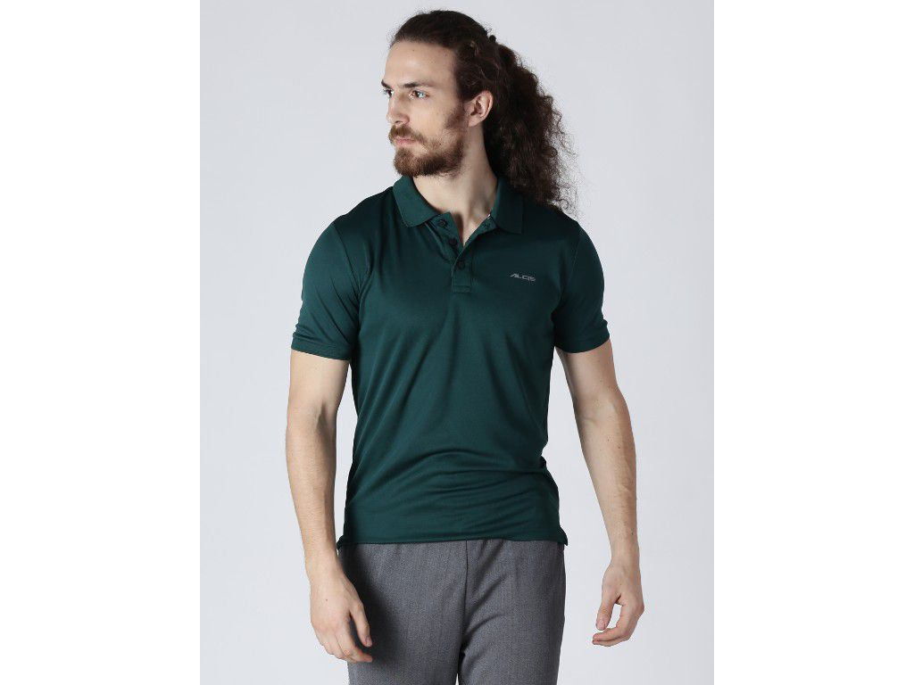 Alcis Mens Solid Green Polo T-Shirt