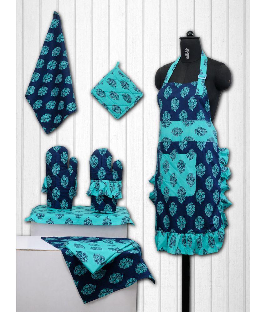 Swayam Set of 8 Cotton Apron | Potholder & Kitchen Towel