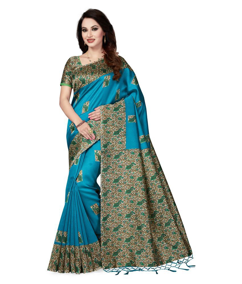 495d6cf92da Ishin Green and Blue Art Silk Saree - Buy Ishin Green and Blue Art Silk  Saree Online at Low Price - Snapdeal.com