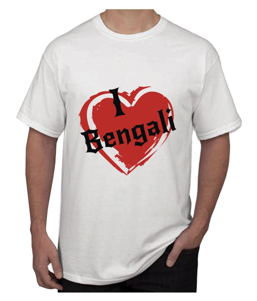 RITZEES White Dry Fit Polyester T-Shirt On I Love Bengali