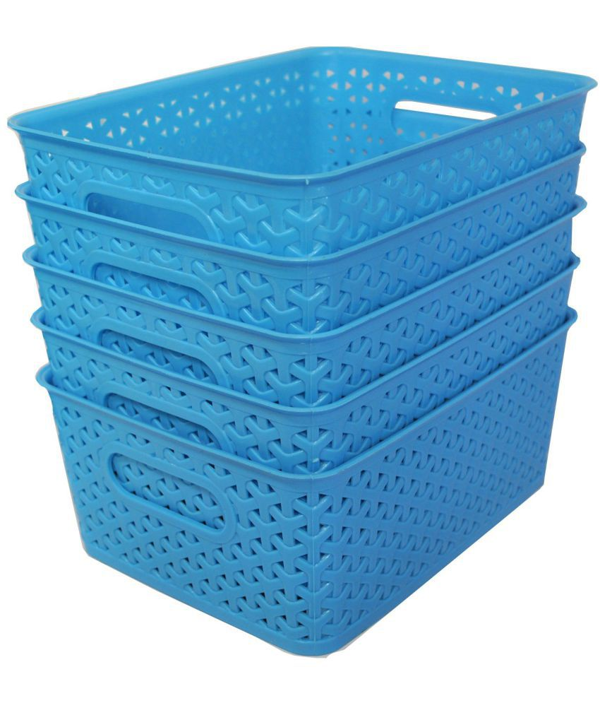 Blue Plastic Multipurpose Storage Baskets   Set Of 5 ...