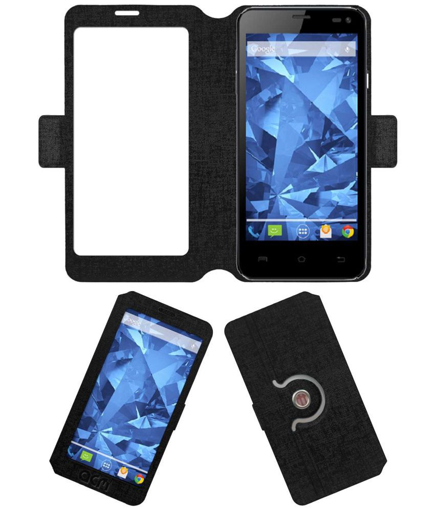 Lava Iris 460 Flip Cover by ACM - Black