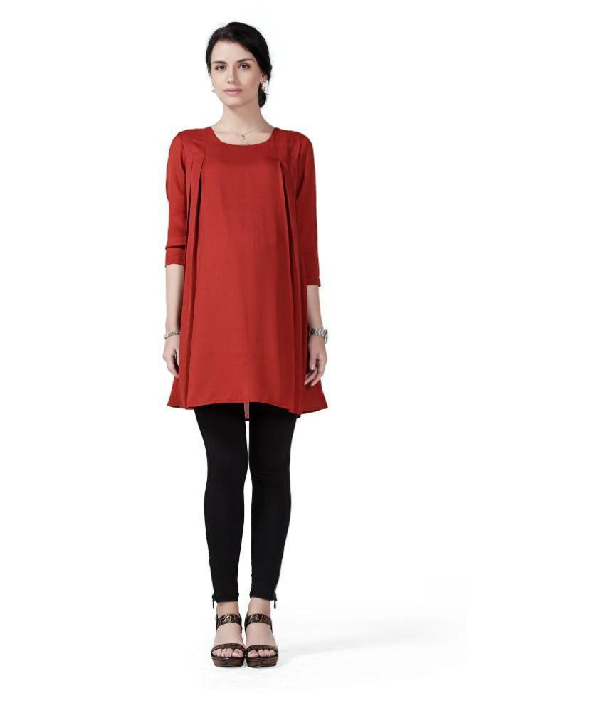 Innovative Red Polyester Maternity Tops