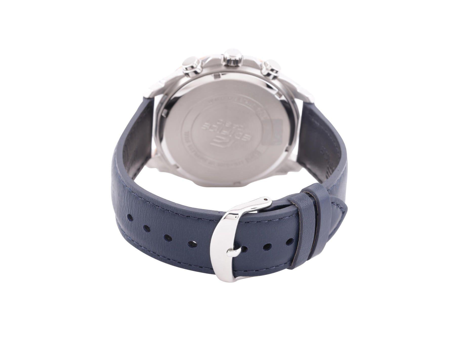 Men Fashion EX306 Blue Analog Leather Strap Watch