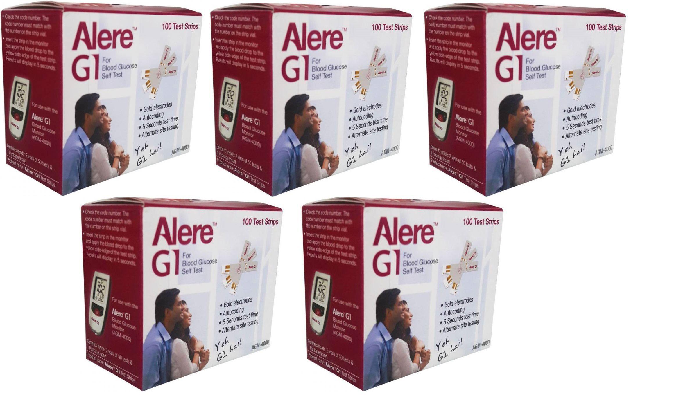 500 (100x5) Strips For Alere G1 Expiry:November 2019 Red