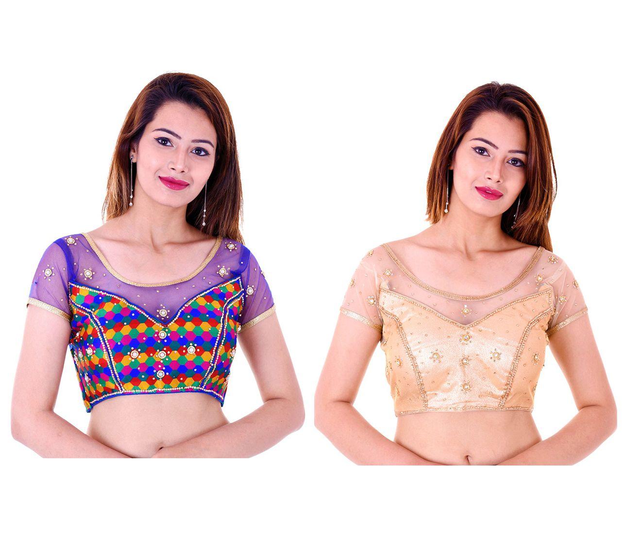 Bulbul Multicoloured Silk Readymade with Pad Blouse