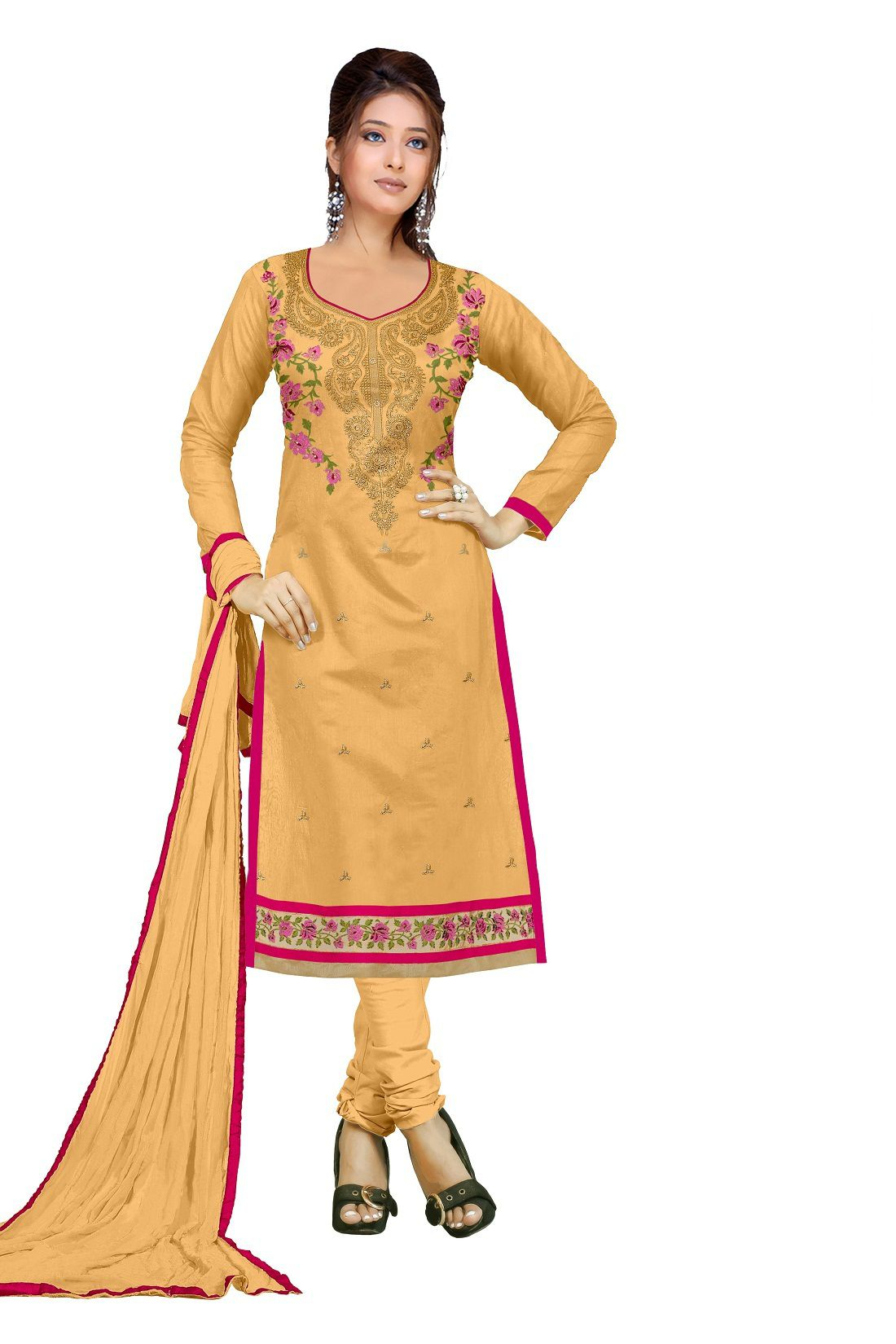 Udaan Yellow Chanderi Dress Material