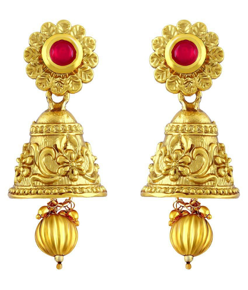 Asmitta Stunning Flower Shape Drop Jhumki Gold Plated Earring For Women