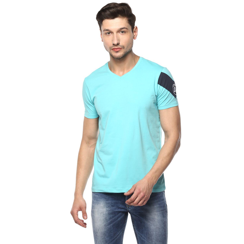 Spykar Blue V-Neck T-Shirt