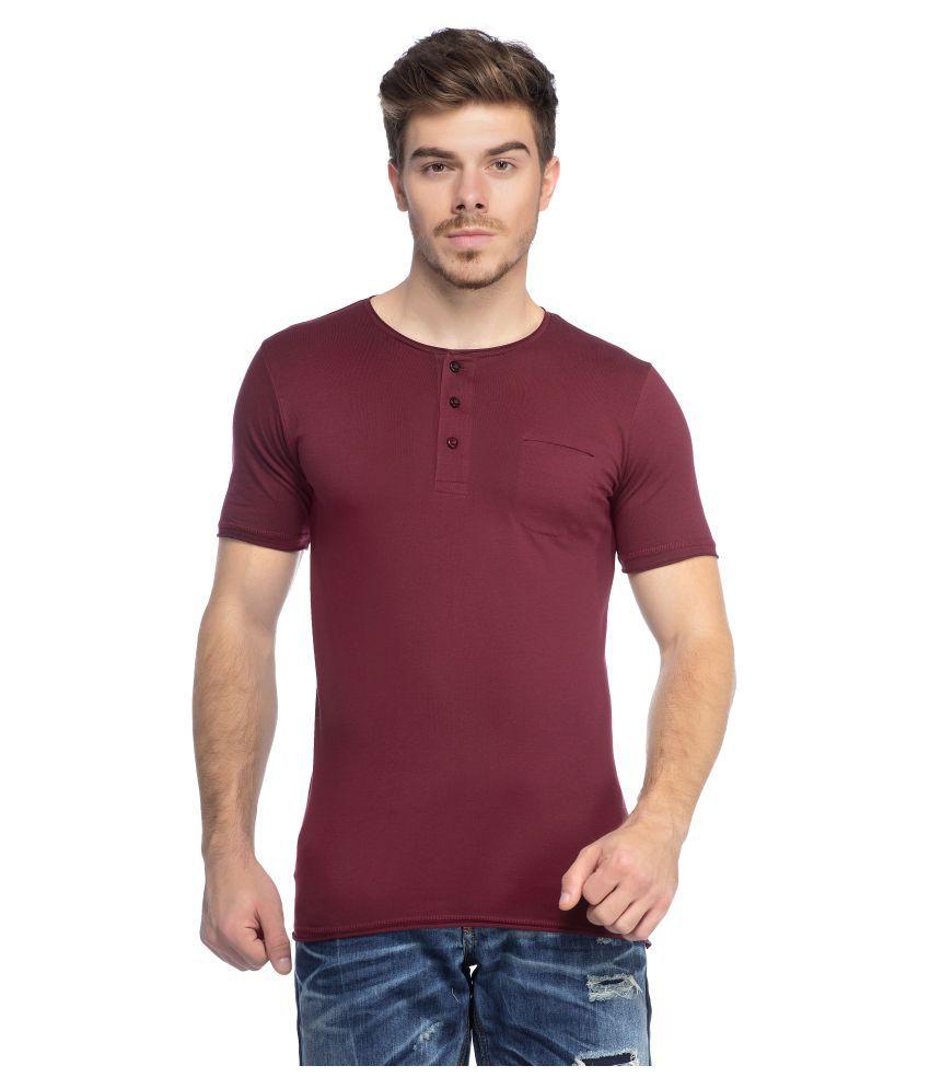 Tinted Maroon Henley T-Shirt