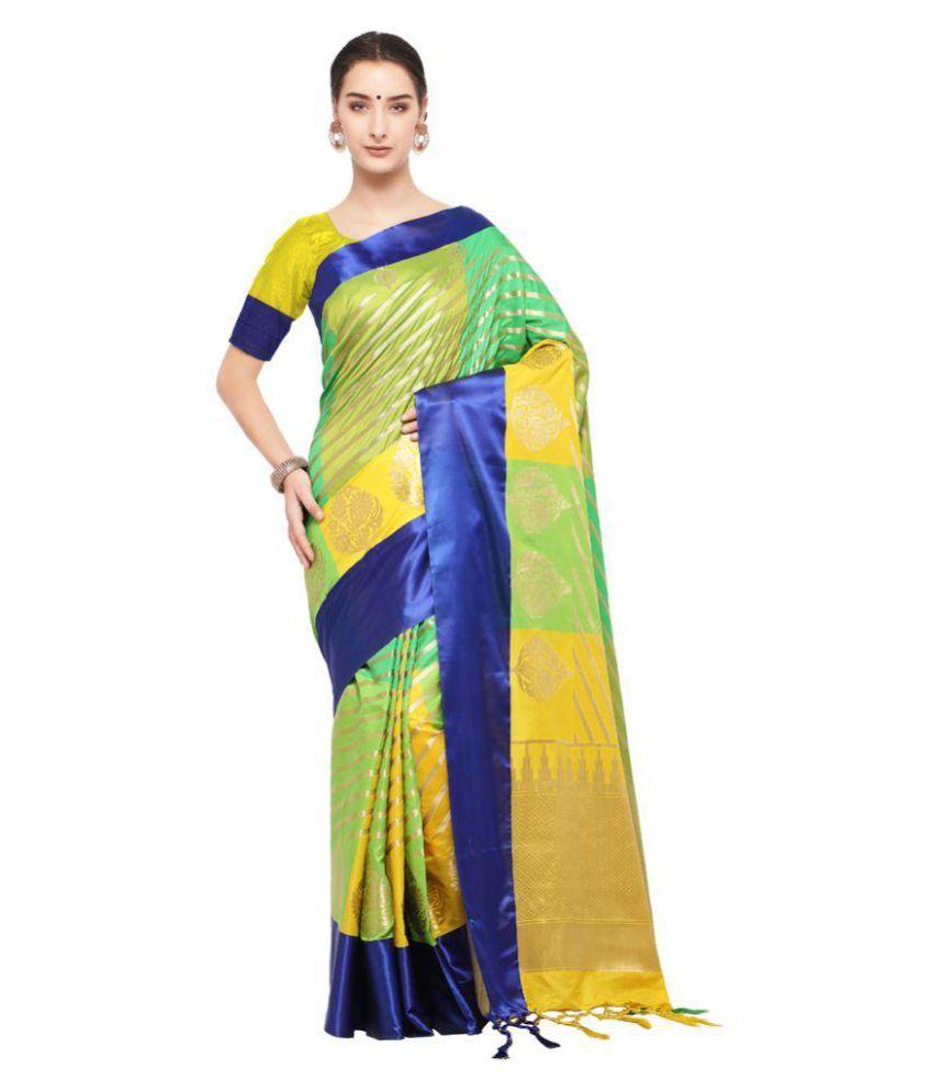 5740fad953 Varkala Silk Sarees Green and Blue Katan Silk Saree - Buy Varkala Silk  Sarees Green and Blue Katan Silk Saree Online at Low Price - Snapdeal.com