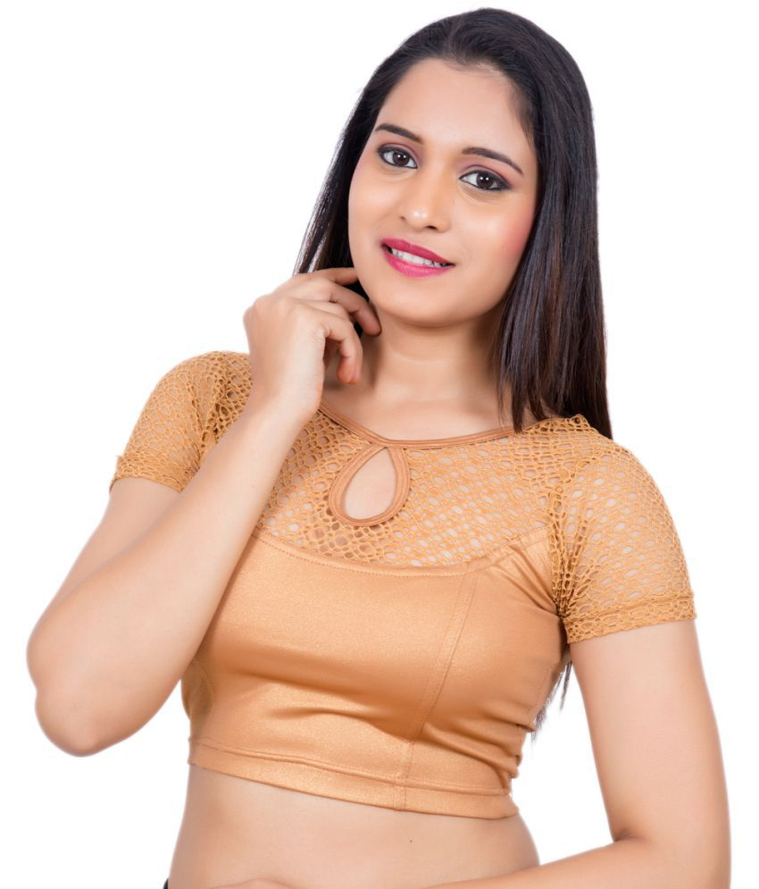 Rinkoo Gold Lycra Readymade without Pad Blouse