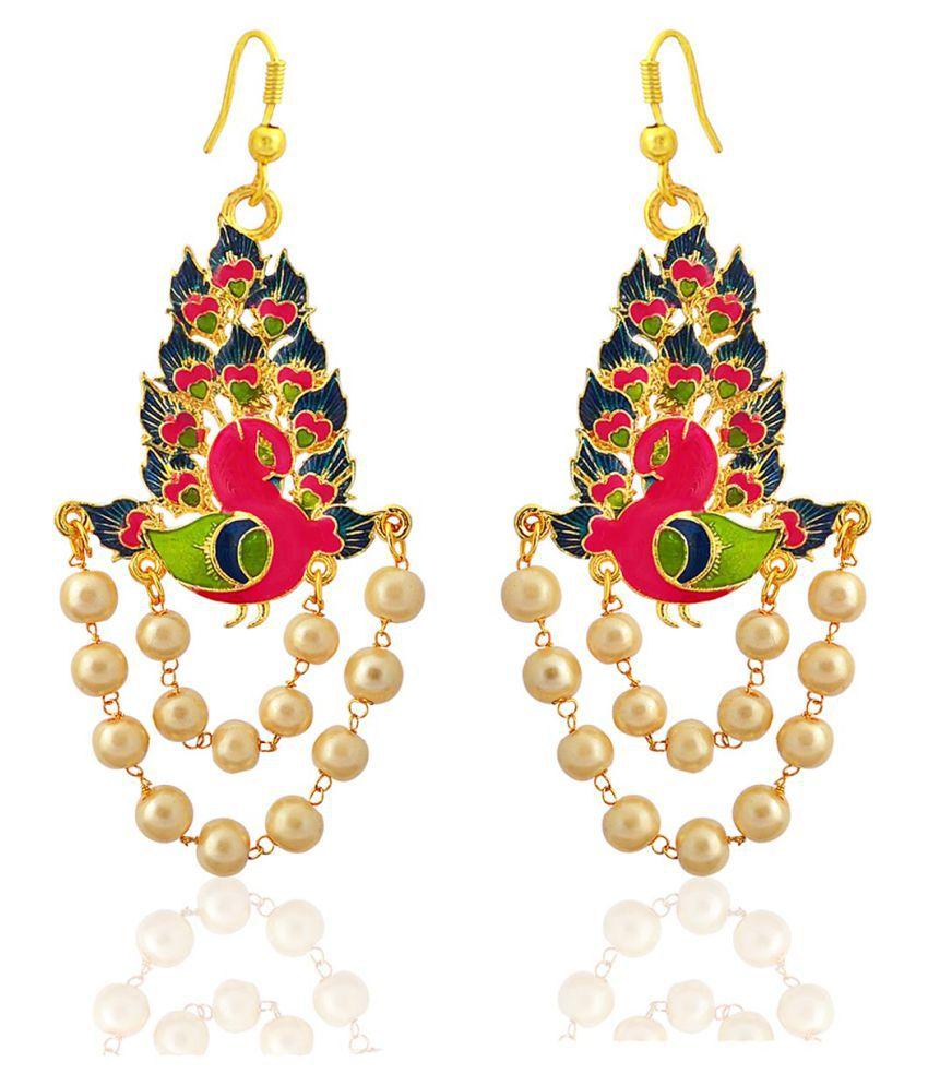 Gorgeous meenakari peacock shape gold plated brass blue kundan pearl jhumki earrings for women