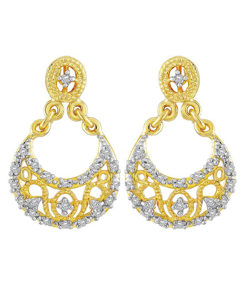 Asmitta Fine Chand bali American Diamond Gold Plated Dangle Earring For Women