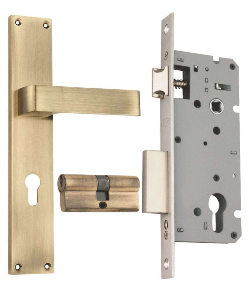 Spider Zinc Mortice Lock Set  with Lock Body & Cylinder with  Antique Brass Finish ( WCLZBA + ZZ30JAB )