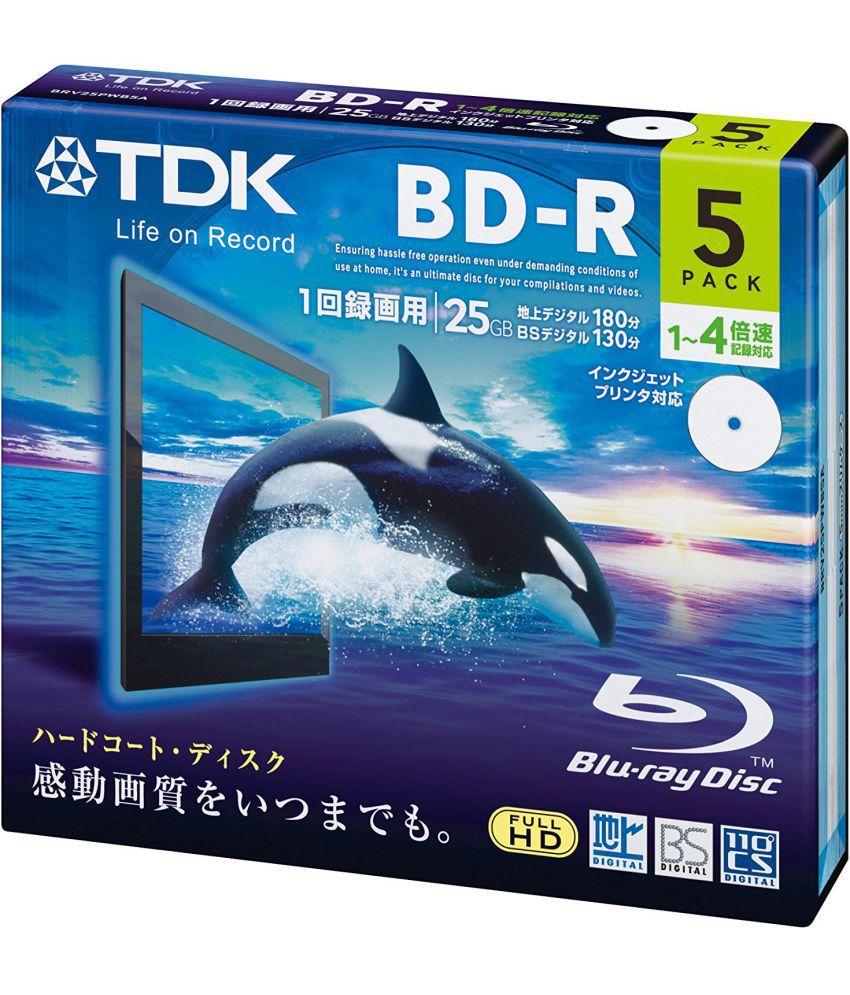 TDK BD-R25JC4EB5 5 Blu Ray Disk Recordable / Inscriptible