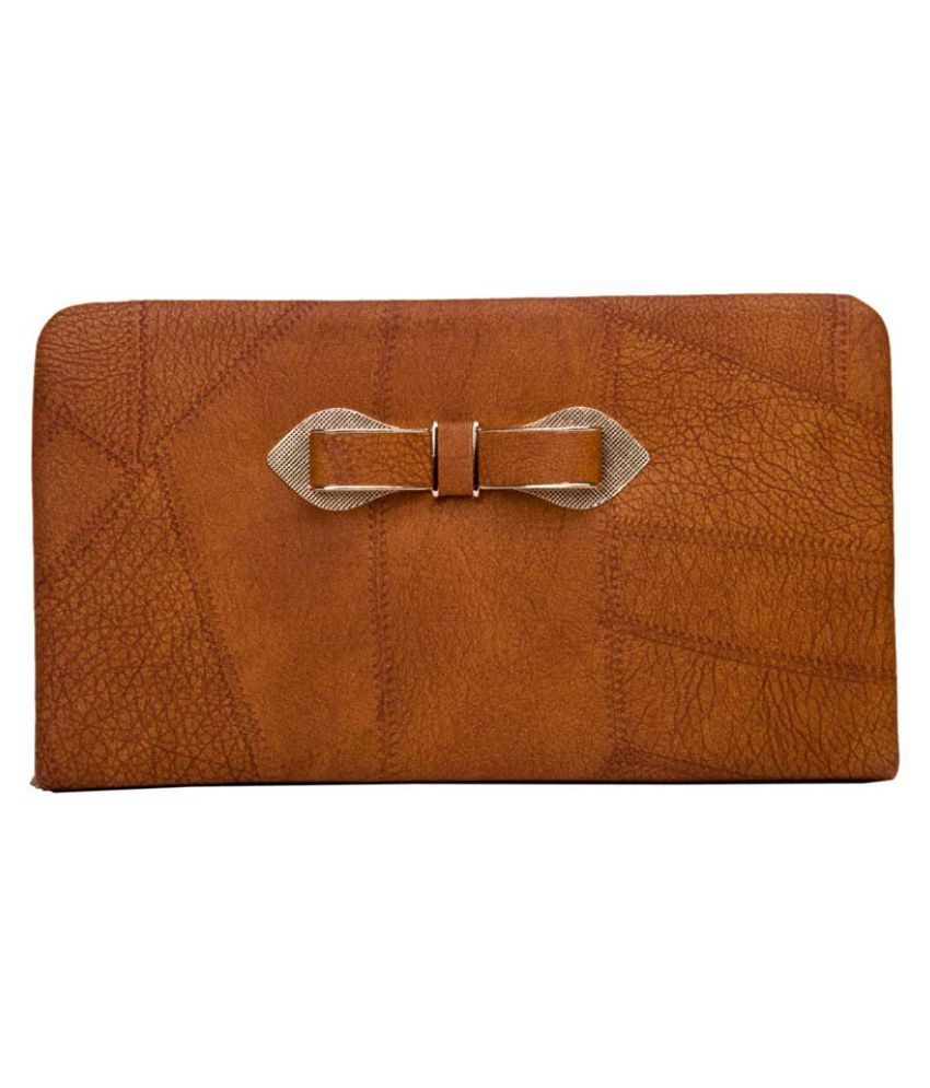 Aliado Brown Faux Leather Box Clutch