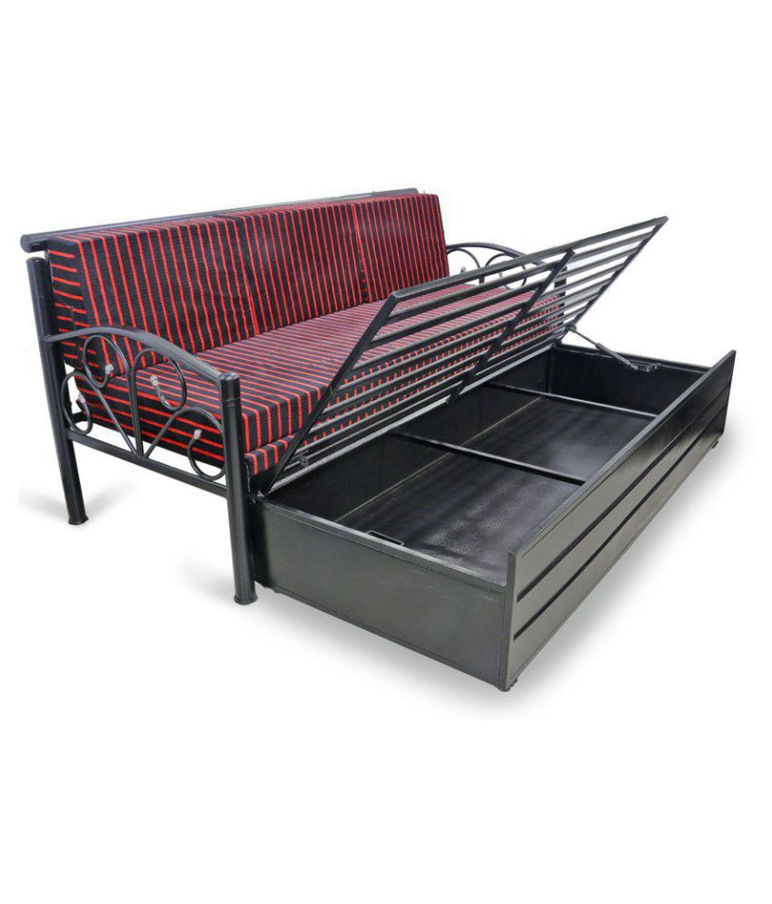 Royal Interiors King Size Metal Sofa Bed With Hydraulic Storage Black Matte Finish
