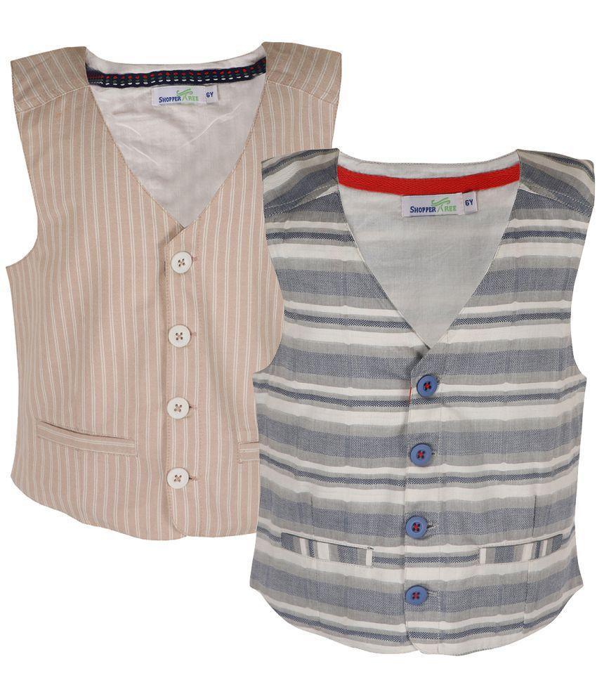 ShopperTree Linen Checked Grey Brown Waistcoat for Boys