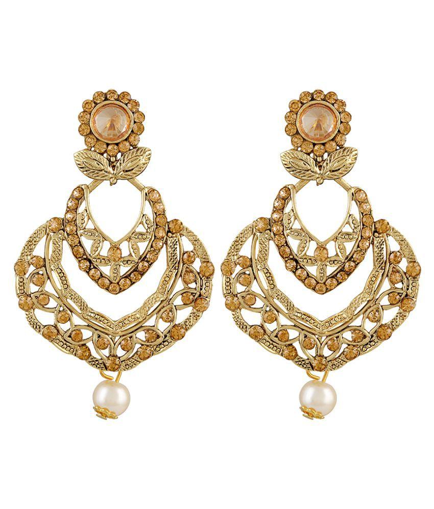 Asmitta Glittery Flower Shape Gold Plated Dangle Earring For Women