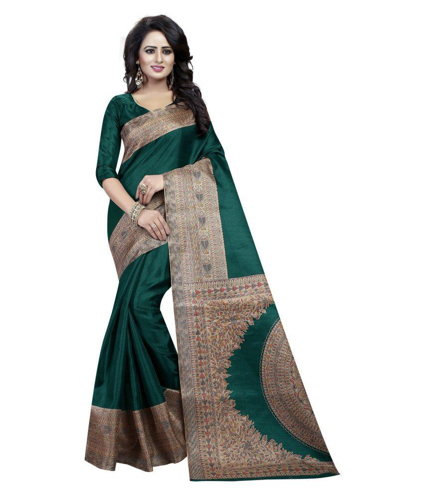 Ozon Designer Fab Green and Grey Cotton Silk Saree