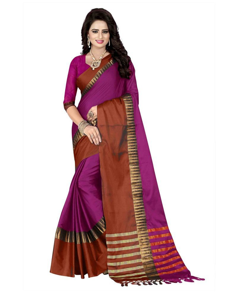 Ozon Designer Fab Pink Cotton Silk Saree