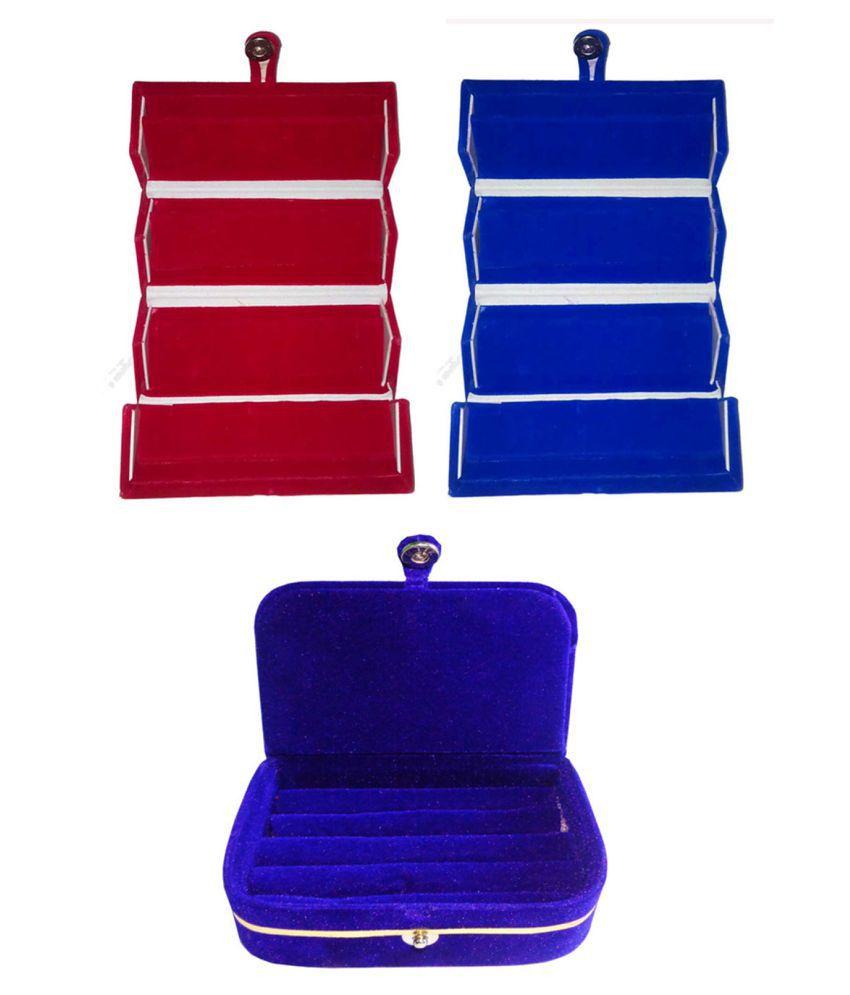 Sarohi Combo 1 pc red earring folder 1 pc blue ear ring folder 1 pc blue ring jewelry vanity box