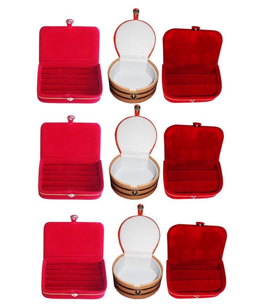 Sarohi Combo 3 pc red ring box 3 pc red ear ring box  and 3 pc bangle box