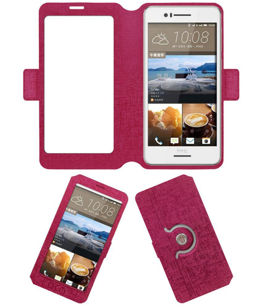 HTC Desire 728w Flip Cover by ACM - Pink
