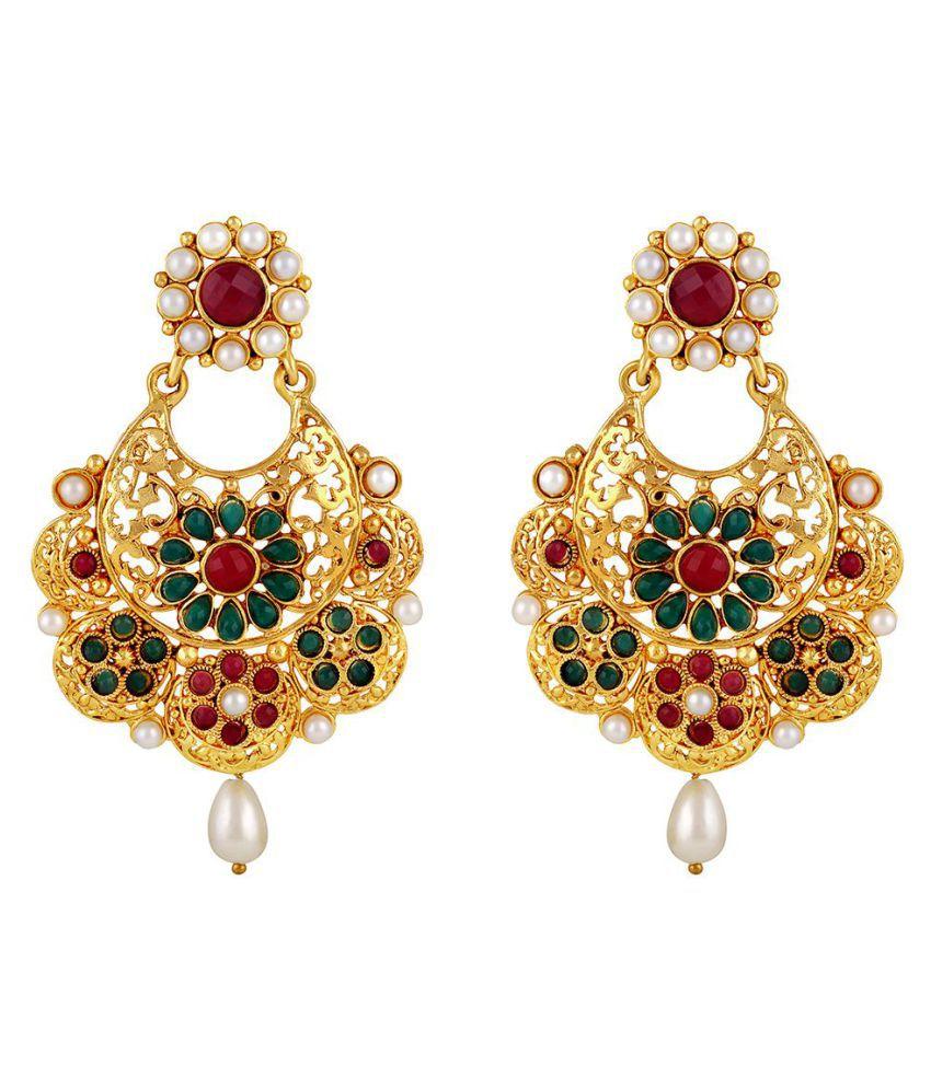 Asmitta Incredible Chandbali Shape Gold Plated Multi Color Earrings For Women