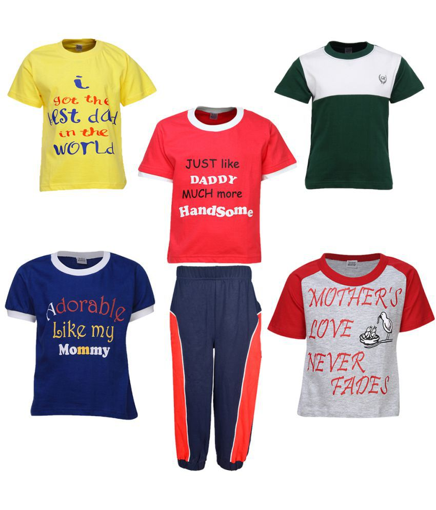 Gkidz Boys Pack of 5 Half Sleeve T-shirts and Jogger