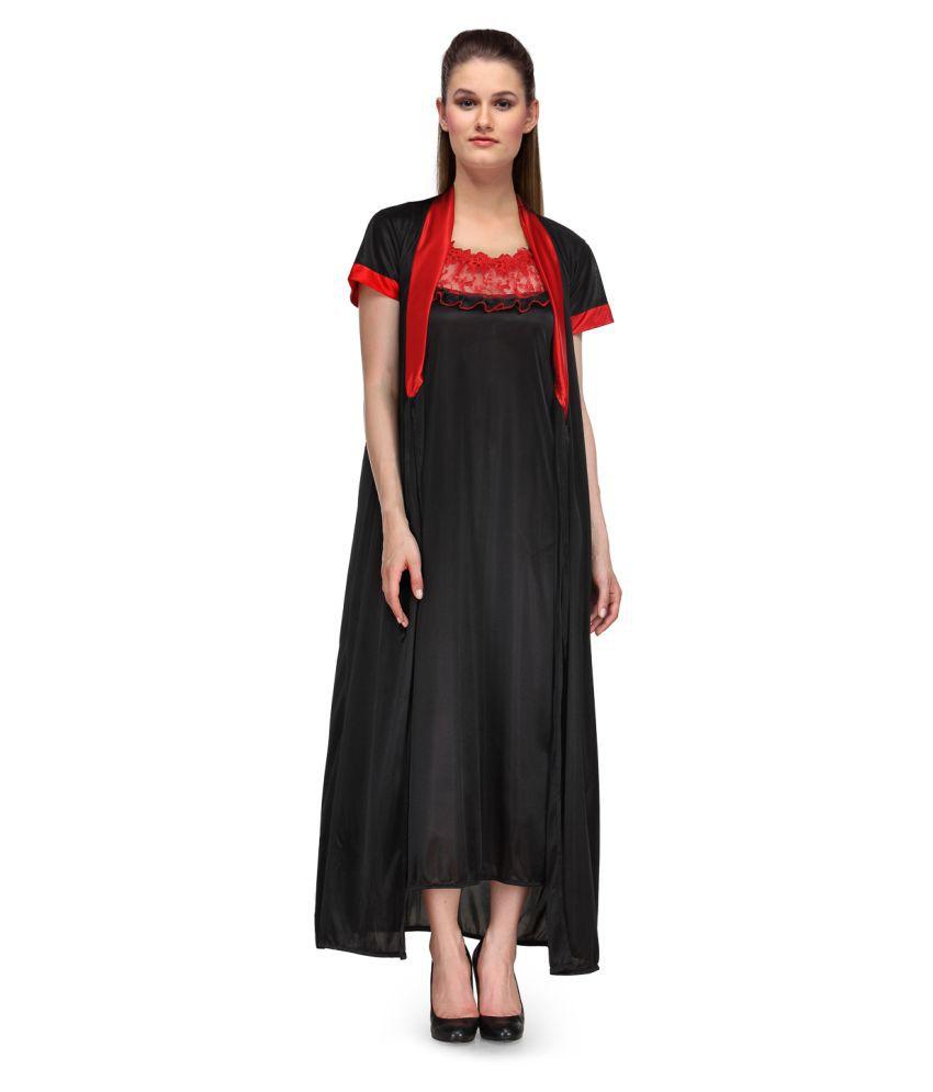 Fashigo Satin Nighty & Night Gowns - Black
