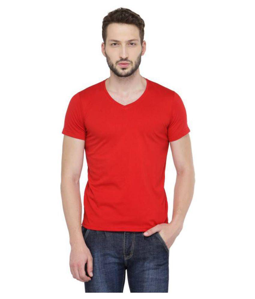 RAJBALLAVI Red V-Neck T-Shirt