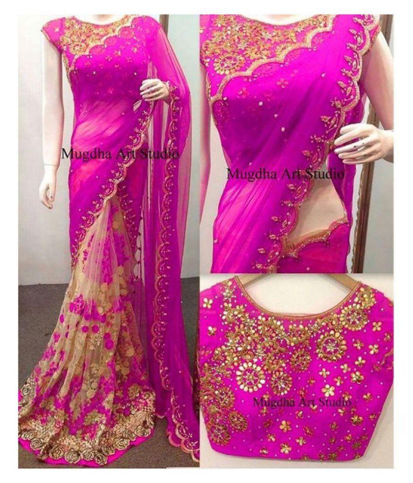 Vinayak Textile Pink Georgette Saree