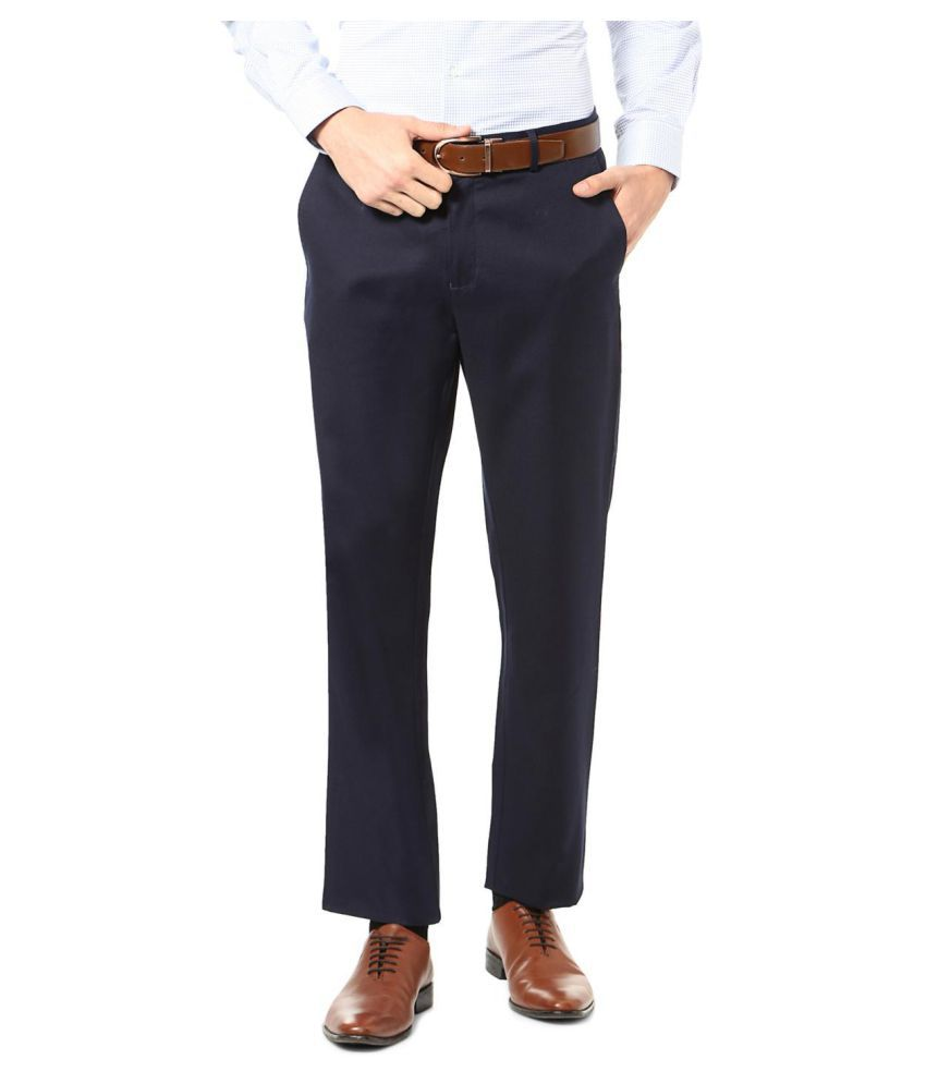 Allen Solly Navy Blue Regular -Fit Flat Trousers