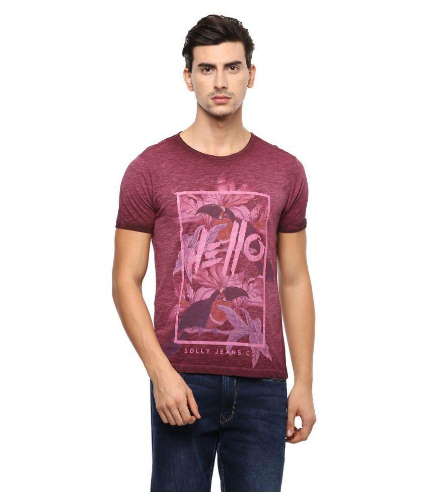 Allen Solly Maroon Round T-Shirt
