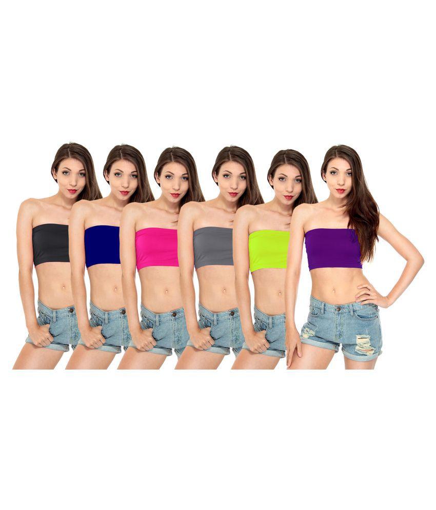 Fashion Line Cotton Lycra Tube Bra - Multi Color