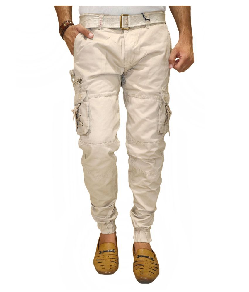 POOL CLUB Cream Loose -Fit Flat Cargos