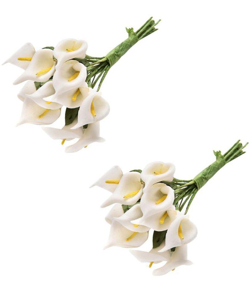 Nema Artificial 12 Pcs Lily Calla Flower Bouquet White Pack Of