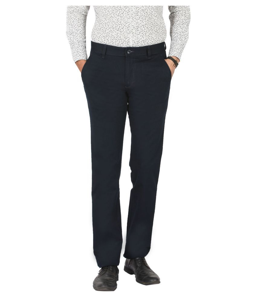 Pecos Bill Navy Blue Slim -Fit Flat Trousers